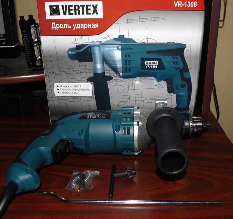 Мощная ударная дрель Vertex VR-1308, 1150Вт - Фото 2