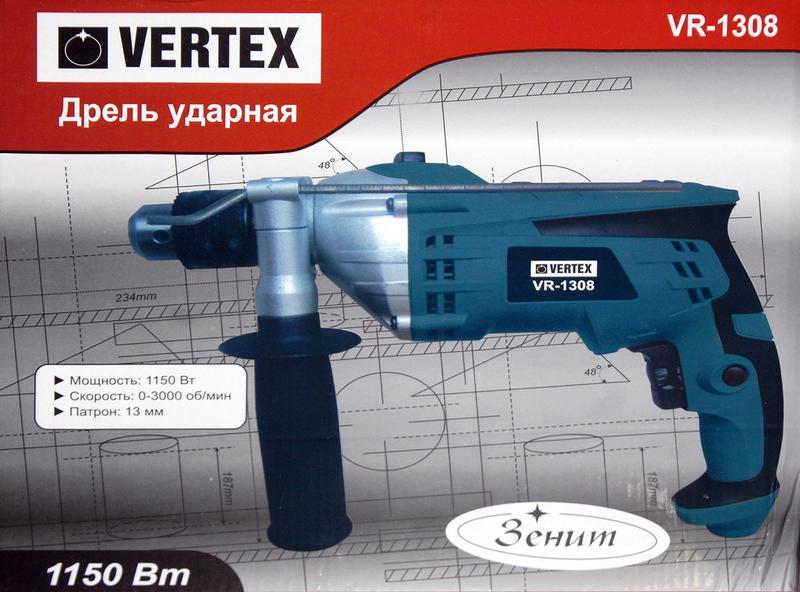 Мощная ударная дрель Vertex VR-1308, 1150Вт - Фото 3