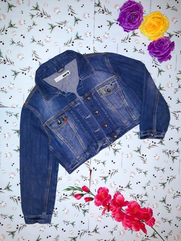 🎁1+1=3 крутая джинсовая укороченная куртка topshop со значками... - Фото 2