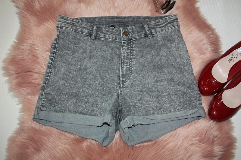 Шорты джинсовые серые с высокой посадкой h&m (к034)