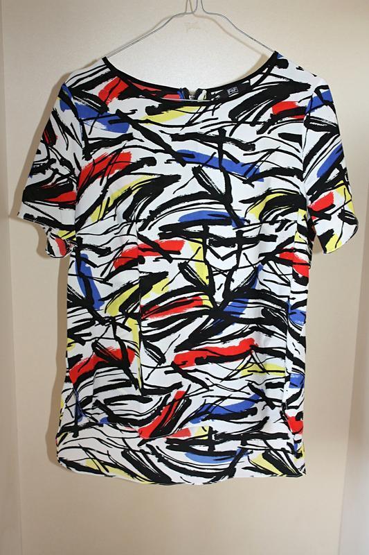 Блузка разноцветная принт рисунок абстракция замок на спине f&...
