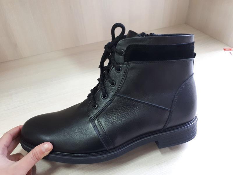 Классические кожаные мужские ботинки на зиму - Фото 4