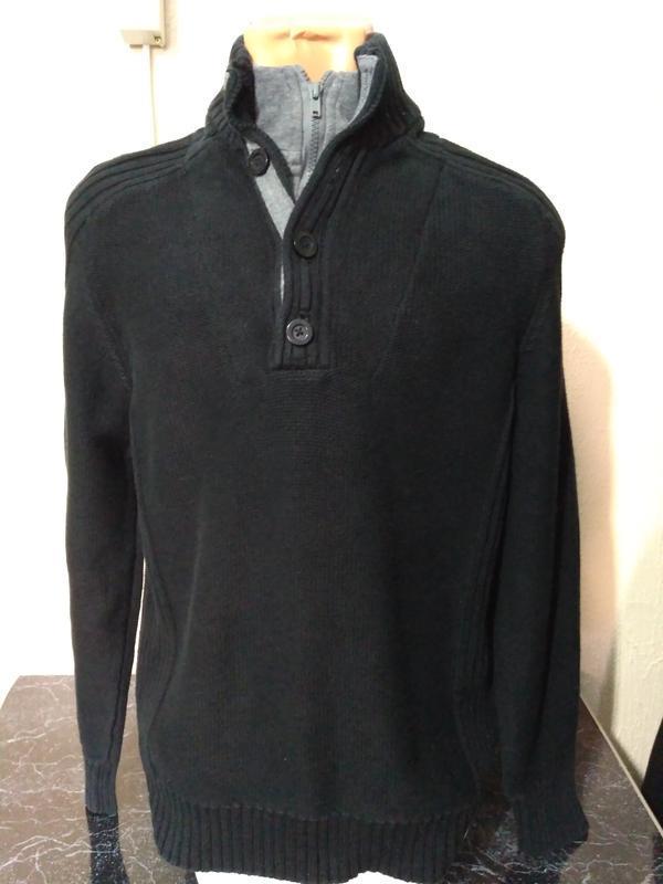 Тёплый свитер с высокой горловиной на молнии, размер м