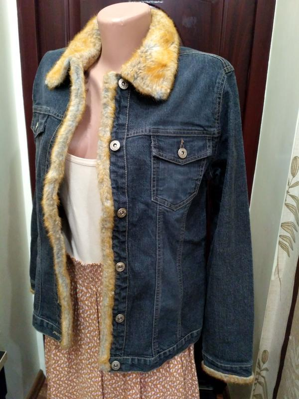 Джинсовый пиджак с искусственным мехом 12 размер