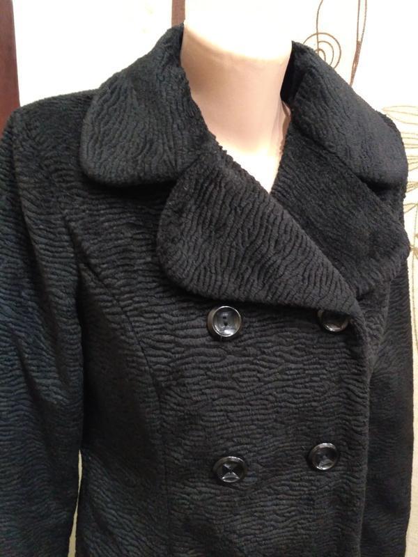 H&m. двубортное демисезонное пальто из искусственного меха, ра...