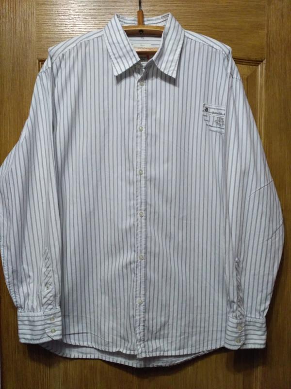 Белая полосатая рубашка tom tailor размер xxl - Фото 2