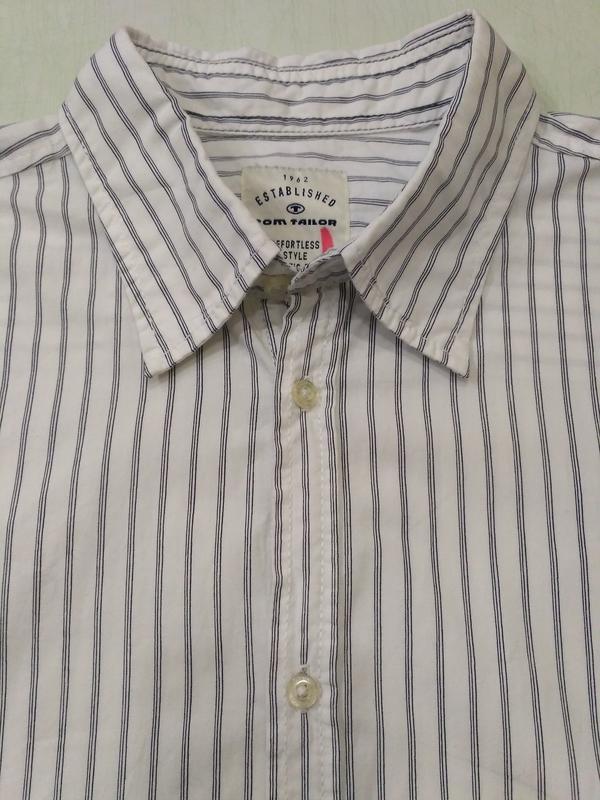 Белая полосатая рубашка tom tailor размер xxl - Фото 4