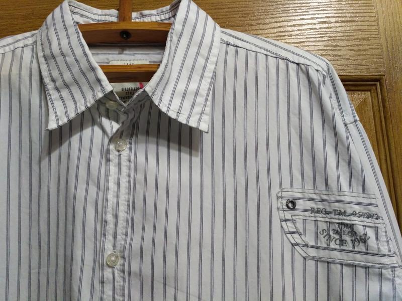 Белая полосатая рубашка tom tailor размер xxl - Фото 5