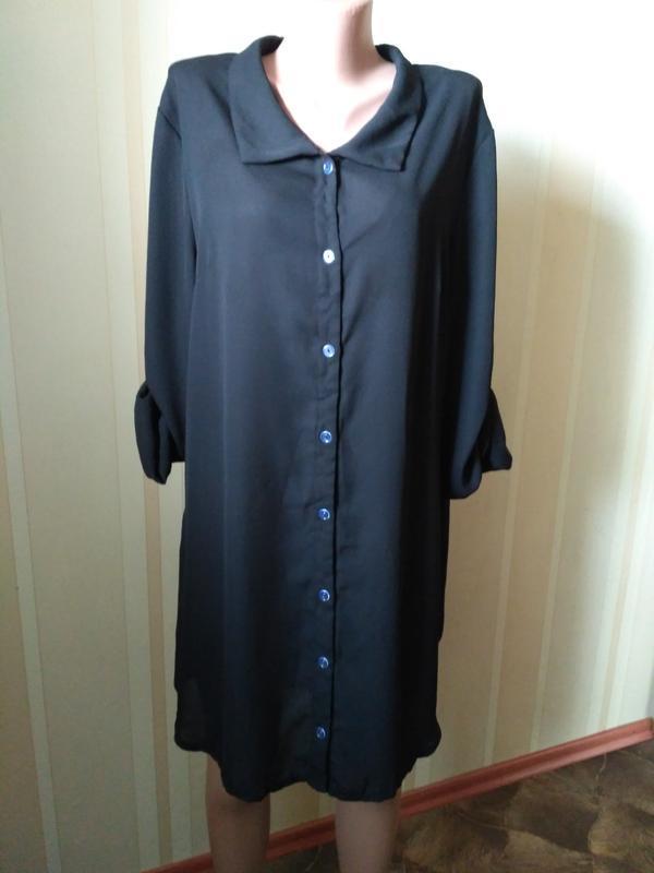 Лёгкое шифоновое платье - рубашка, туника