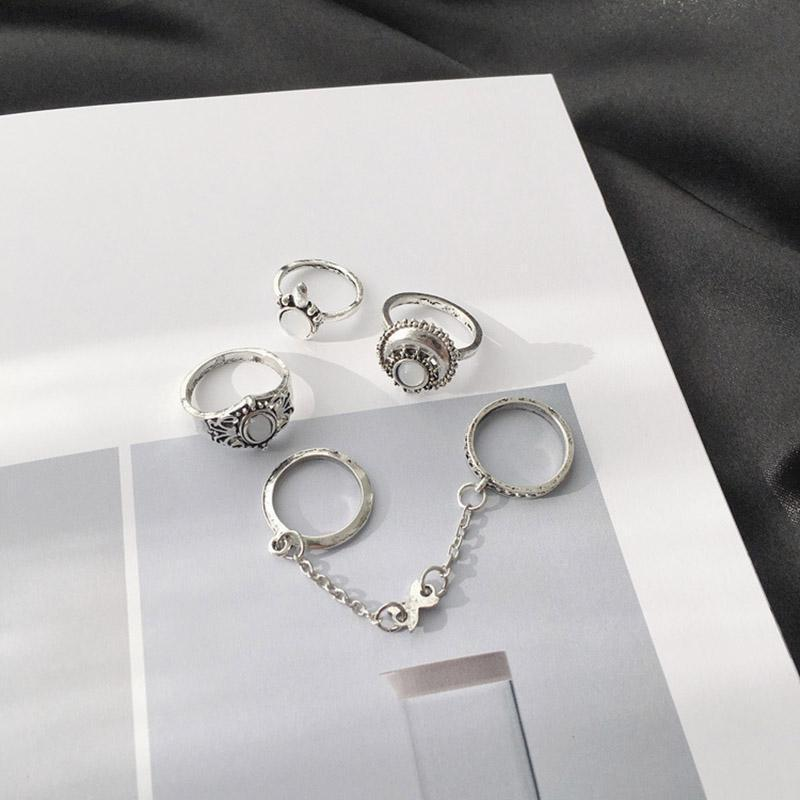 Набор колец ( 5 колец ) в серебристом цвете - Фото 4