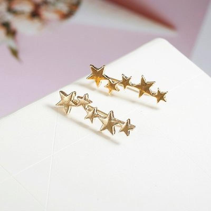 Серьги клаймберы золотистые звезды - Фото 2