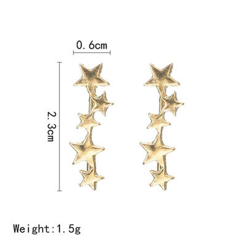 Серьги клаймберы золотистые звезды - Фото 3