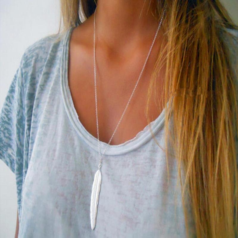 Длинная цепочка ожерелье с подвеской перо серебристого цвета
