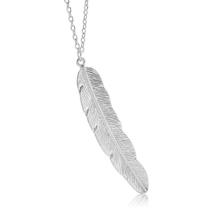 Длинная цепочка ожерелье с подвеской перо серебристого цвета - Фото 3