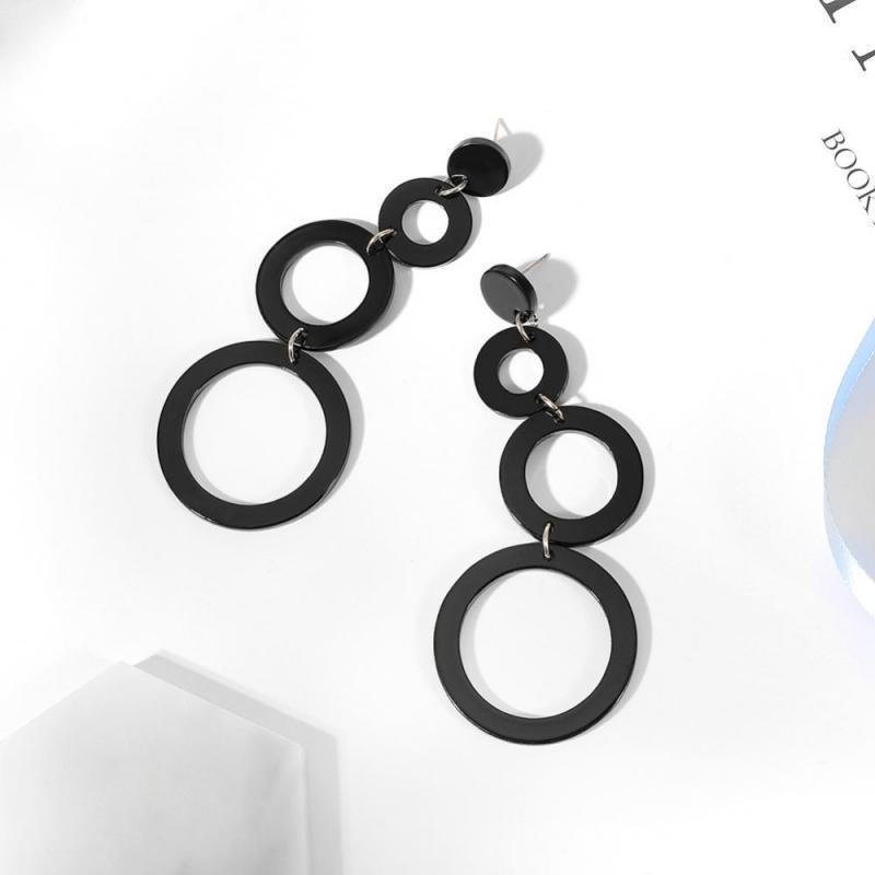 Длинные серьги черные круги - Фото 2