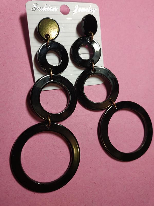 Длинные серьги черные круги - Фото 5