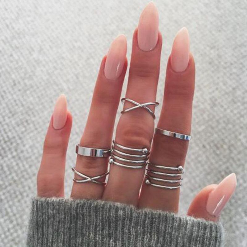 Набор колец на пальцы и фаланги завитки 6 штук серебристые