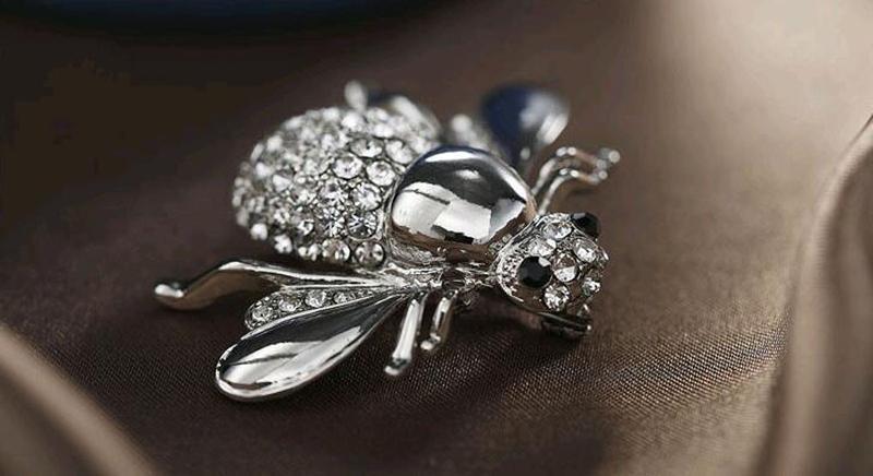 Брошь ( брошка ) серебристая пчела - Фото 2