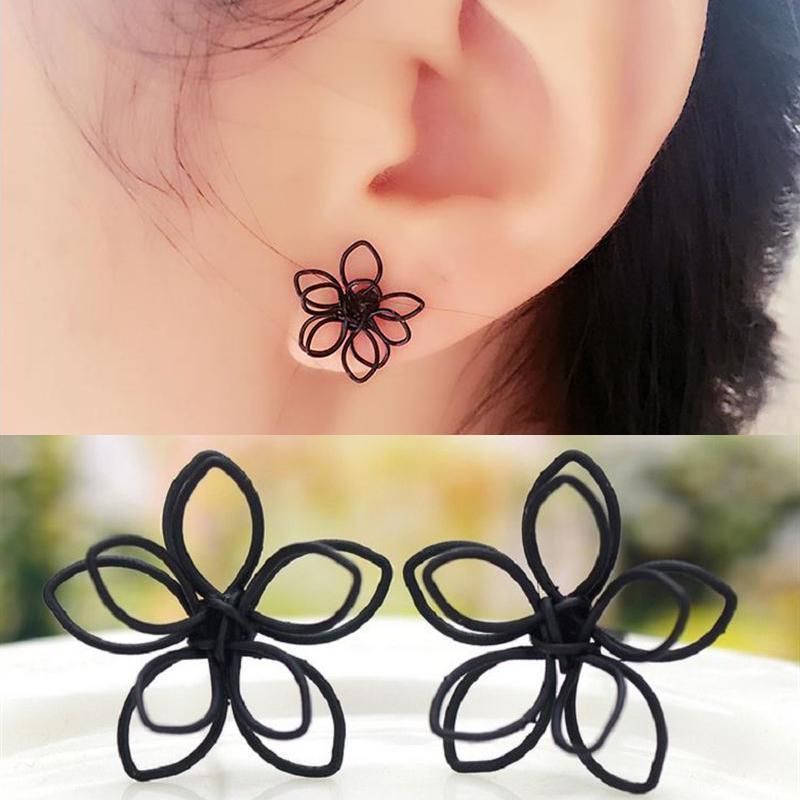 Серьги гвоздики черный цветок - Фото 2
