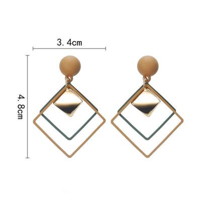 Серьги геометрия матовые коричневые - Фото 2