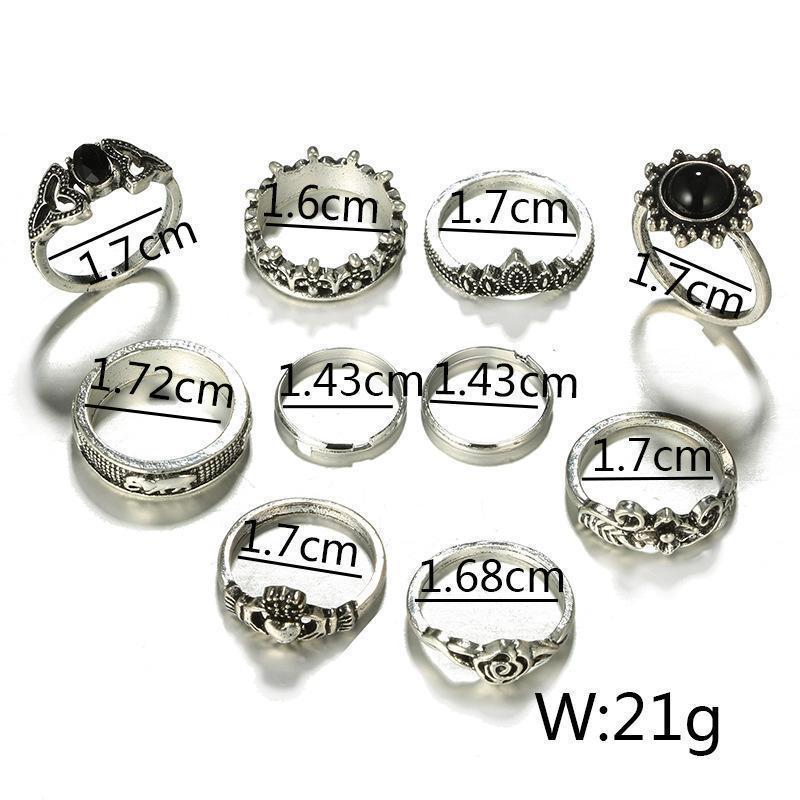 Набор колец 10 штук ( кольцо с черным камнем, корона, цветок, ... - Фото 3