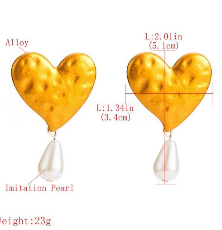 Серьги za большое золотое сердце с жемчугом - Фото 2