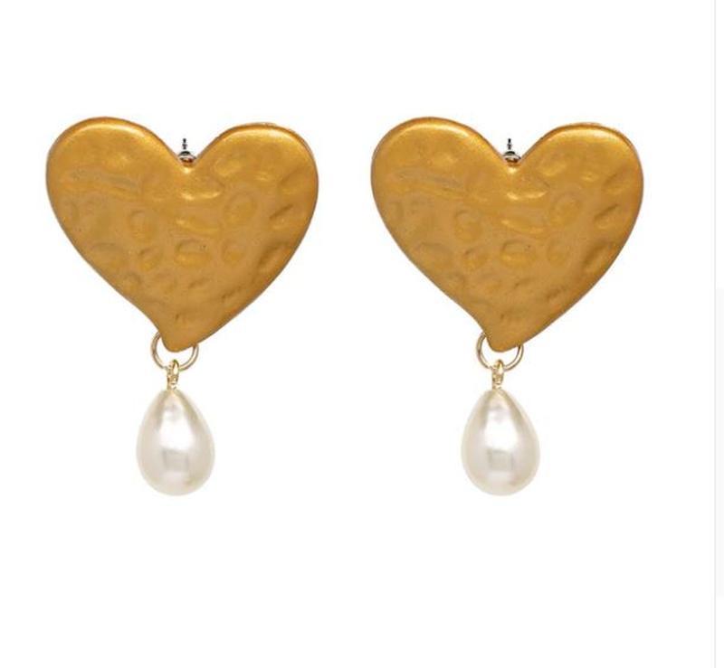 Серьги za большое золотое сердце с жемчугом - Фото 3