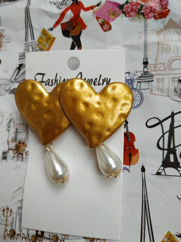Серьги za большое золотое сердце с жемчугом - Фото 4