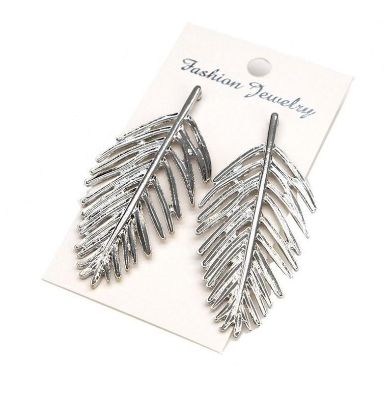 Длинные серьги серебристый листок - Фото 4