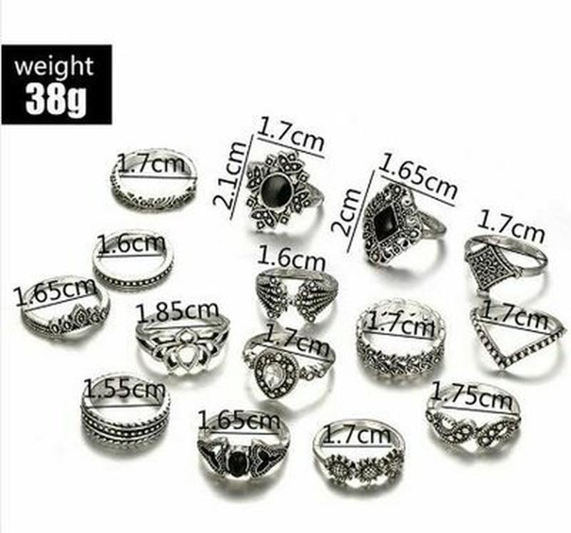 Набор колец 15 штук кольцо цветок, черный камень, корона сереб... - Фото 2
