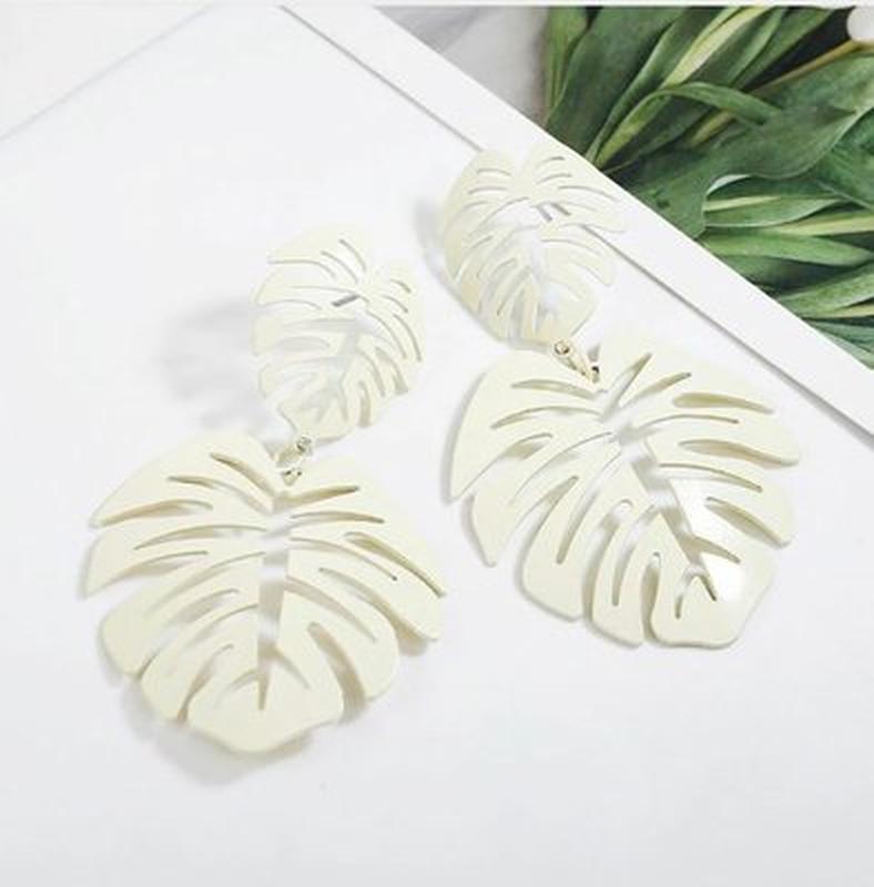 Длинные серьги листья белого цвета - Фото 2