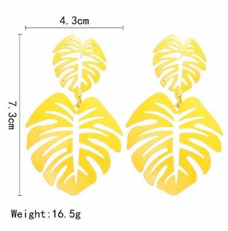 Длинные серьги листья белого цвета - Фото 5