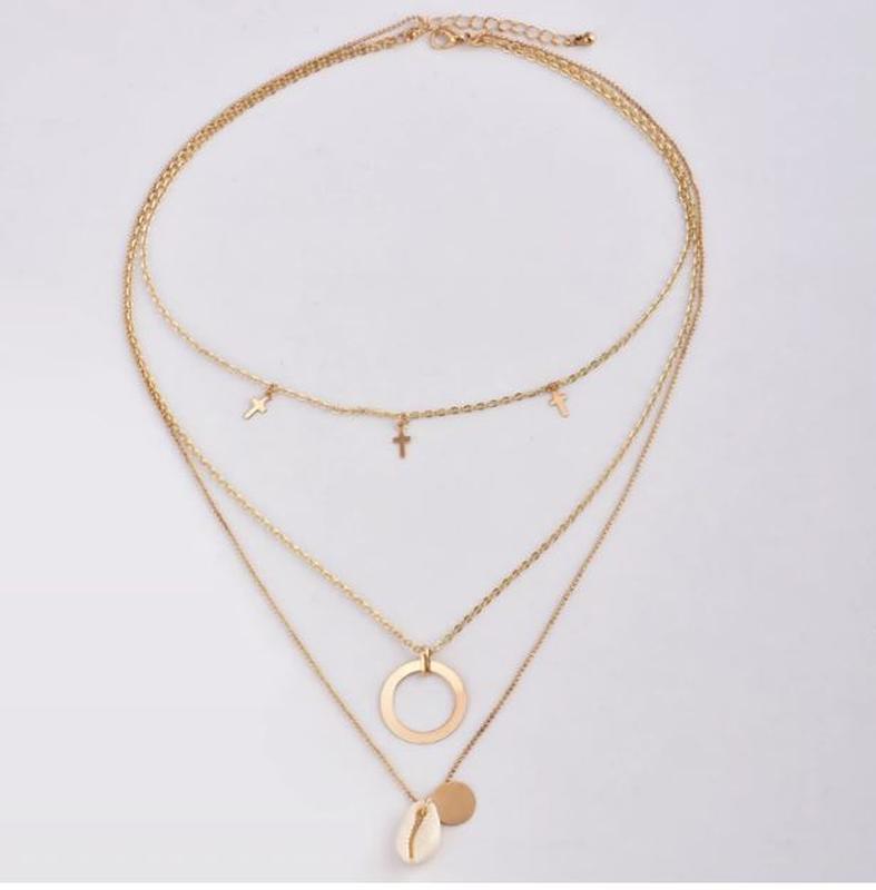 Трендовая тройная цепочка ожерелье с подвесками ракушка золоти... - Фото 2