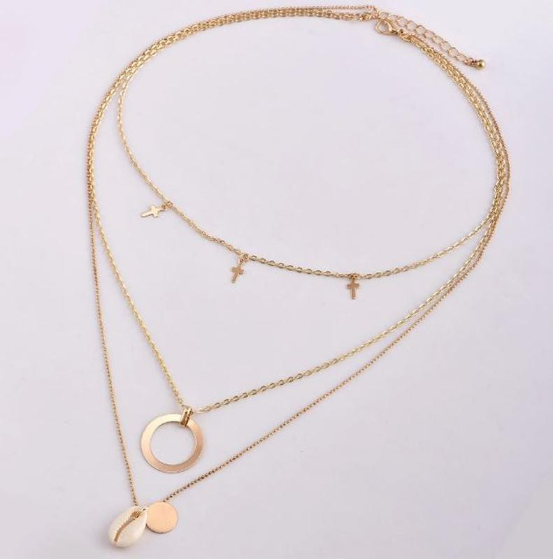 Трендовая тройная цепочка ожерелье с подвесками ракушка золоти... - Фото 3