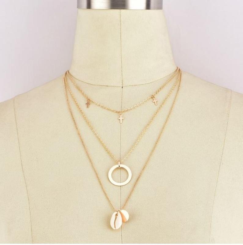 Трендовая тройная цепочка ожерелье с подвесками ракушка золоти... - Фото 4