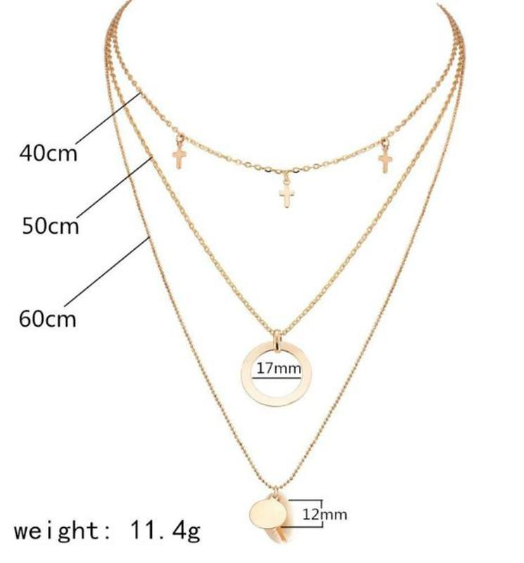 Трендовая тройная цепочка ожерелье с подвесками ракушка золоти... - Фото 5