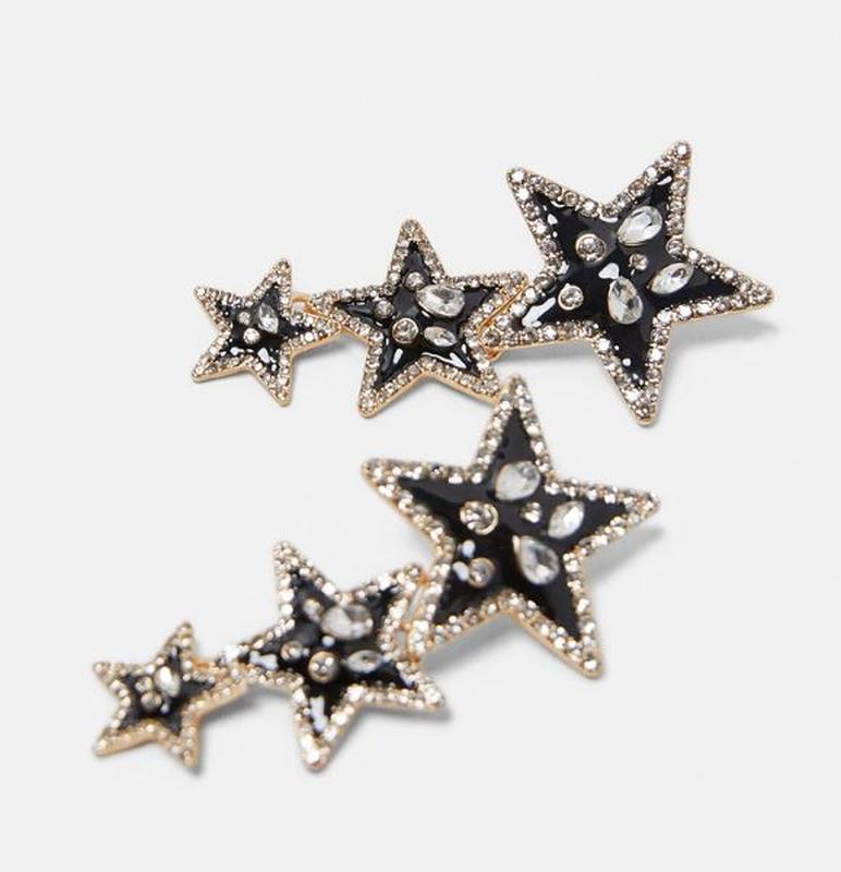 Длинные серьги черные звезды za - Фото 4