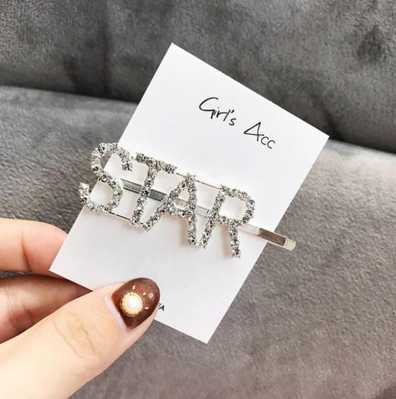 Большая модная заколка в стразах star