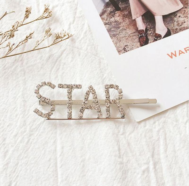 Большая модная заколка в стразах star - Фото 2