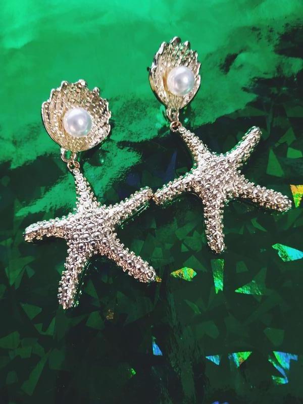 Стильные серьги морская звезда с жемчужинкой - Фото 4