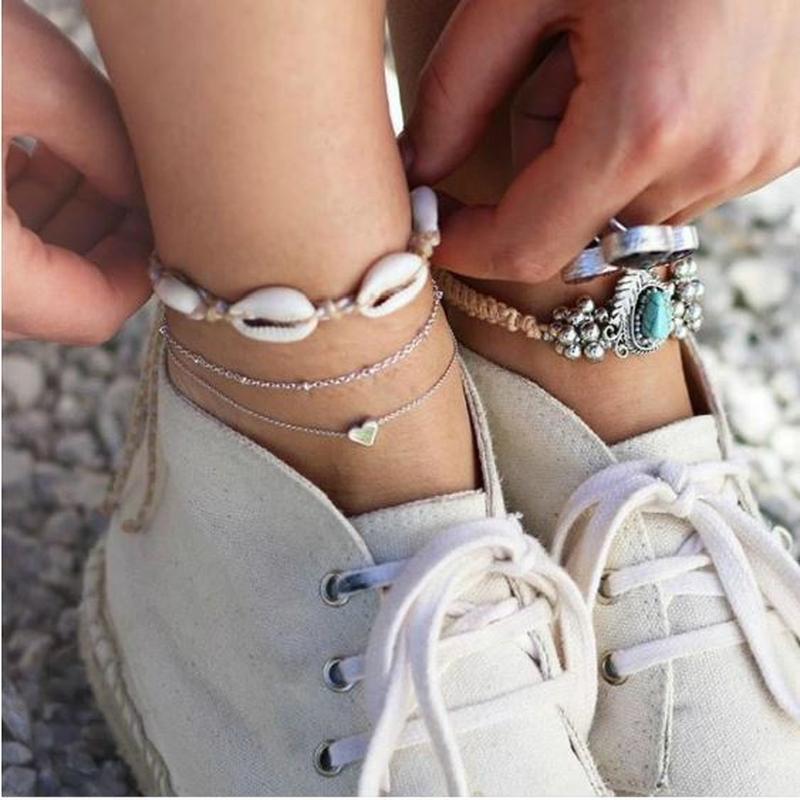 Набор браслетов на ногу ракушки, сердце