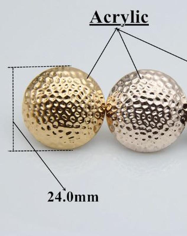 Большие серьги шары золотистого цвета - Фото 5