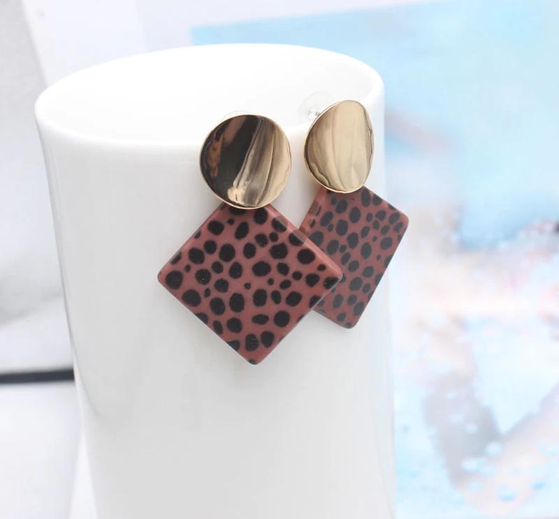 Модные леопардовые серьги ромб, пятнистые женские сережки