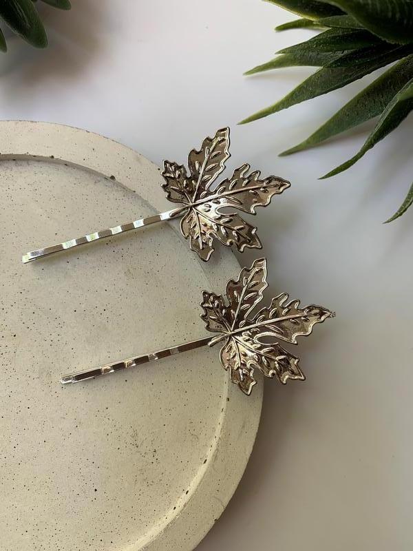 Набор заколок для волос, зажим невидимка листья серебряные