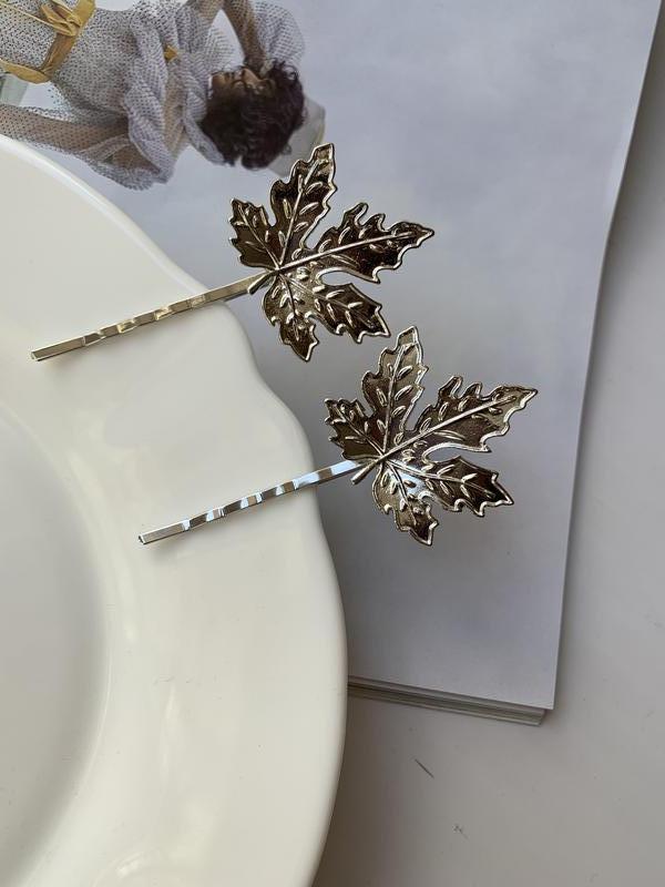 Набор заколок для волос, зажим невидимка листья серебряные - Фото 2
