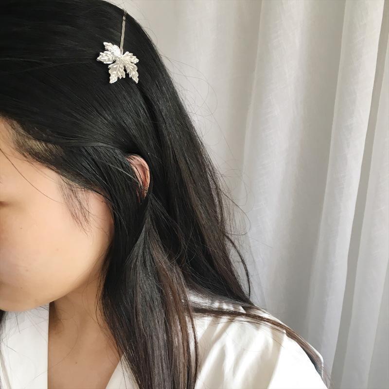 Набор заколок для волос, зажим невидимка листья серебряные - Фото 3
