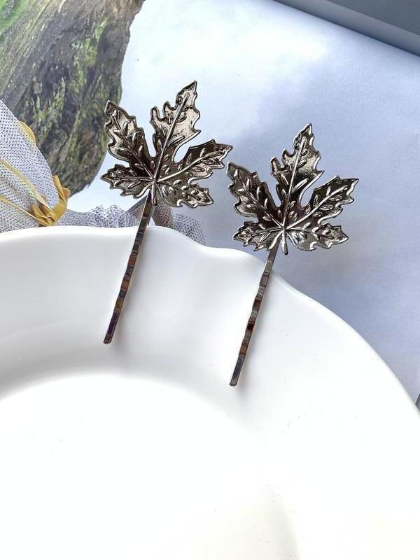 Набор заколок для волос, зажим невидимка листья серебряные - Фото 4