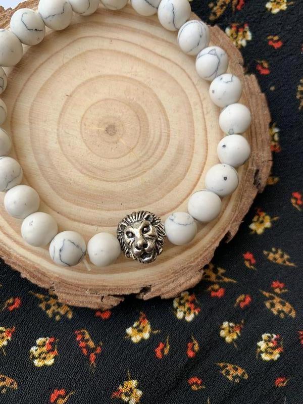 Мужской браслет из натурального камня лев белый - Фото 2