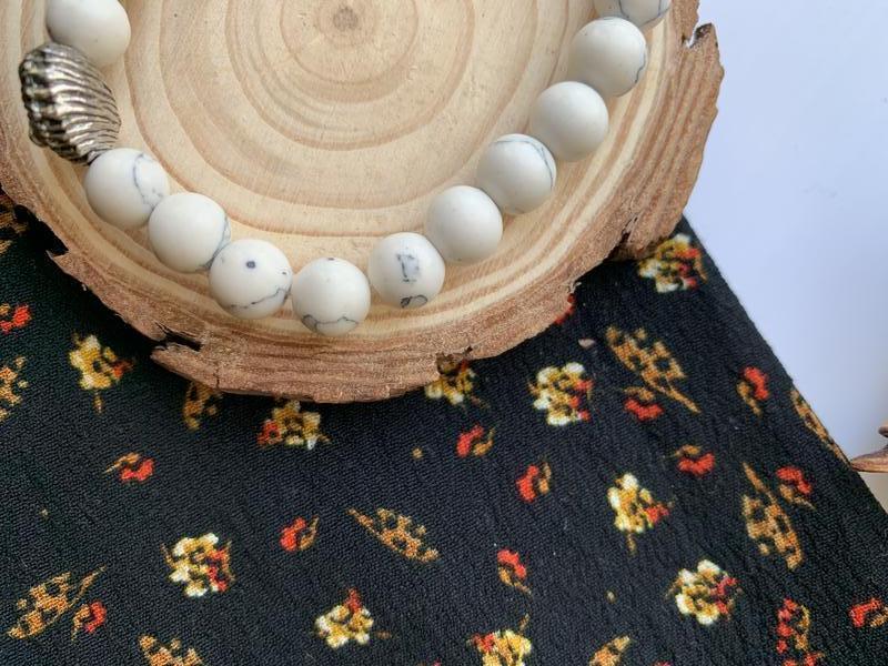 Мужской браслет из натурального камня лев белый - Фото 3