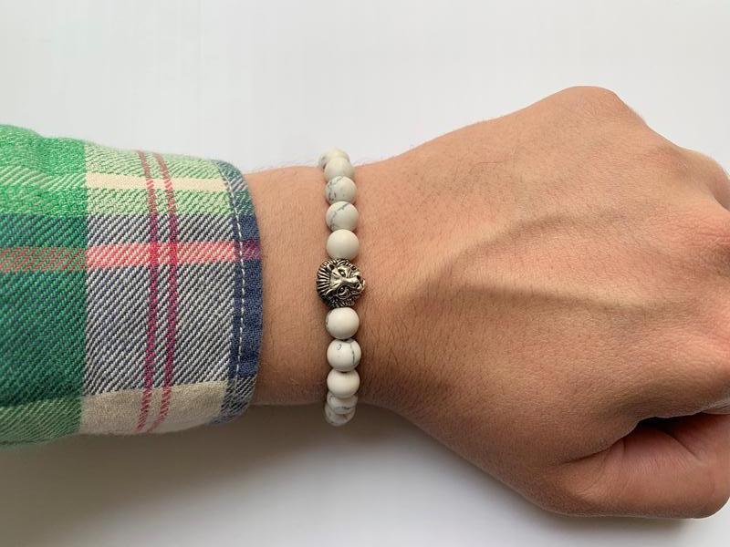 Мужской браслет из натурального камня лев белый - Фото 4